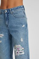 CROSS JEANS Gwen Mavi Normal Bel Payet detaylı Regular Tapered Jean Pantolon C 4667-009