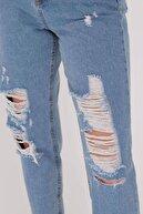 Addax Kadın Kot Rengi Yırtık Detaylı Pantolon Pn6481- Pnn ADX-0000021037