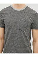 Koton Erkek Gri Çizgili Kısa Kollu Pamuklu Cepli T-Shirt
