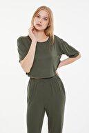 TRENDYOLMİLLA Yeşil Crop Örme Pijama Takımı THMSS21PT0406