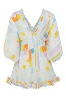 Nocturne Desenli Yarasa Kol Piliseli Mini Elbise