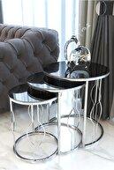 Pukka Sehpa Gümüş Zigon Sehpa, Füme Aynalı