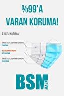 BSM Beyaz 3 Katlı Yassı Lastikli Meltblown Cerrahi Maske Toplam 150 Adet