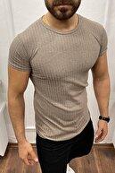 aksesuargo Erkek Camel Fitilli Kısa Kol Slim Fit Triko T-Shirt