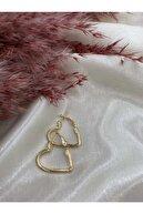 Eylülün Takısı Altın Renk Kalpli Klipsli Halka Küpe
