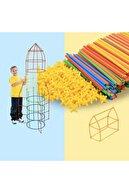 Bamboo Bambu Çubukları Zeka Hayal Ve Gücü Eğitici 4d Dıy Block 300 Parça