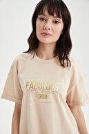 Defacto Kadın Bej Relax Fit Baskılı Kısa Kollu Tişört