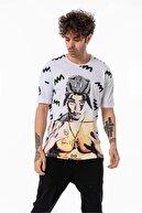 gangs street wear Erkek Beyaz Tupac Baskılı Bol Kalıp T-shirt G21-026