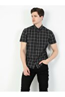 Colin's Slim Fit Shirt Neck Erkek Siyah Kısa Kol Gömlek
