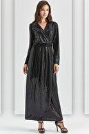 Guitar Kadın Siyah Abiye Elbise Guıtar 20528