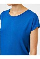 Koton Kadın Mavi Bisiklet Yaka Standart Kalip Basic Tisört