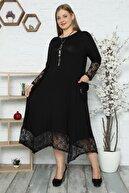 Kheos Kol, Cep Ve Etek Ucu Dantel Detaylı Uzun Kollu Elbise