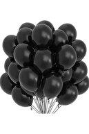 "Deniz Party Store Pastel Balon 12 "" Inç Siyah Renk 25 Adet"