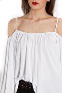 Bexy Kadın Beyaz Omuzu Açık Viskon İspanyol Yaka Bluz 160204-2