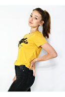 MERİCEY Kadın Sarı Kısa Kollu Tişört