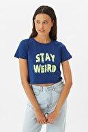 TRENDYOLMİLLA Lacivert Crop Örme T-Shirt TWOSS21TS3067
