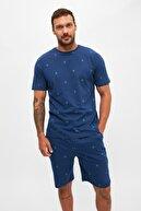 TRENDYOL MAN Lacivert Baskılı Örme Pijama Takımı THMSS21PT0923