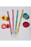 Pippa Yumurtlayan Kurşun Kalem 4 Lü Set Ve 4 Adet Meyve Desenli Mühür Başlık