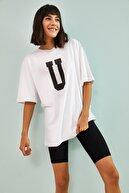 Bianco Lucci Kadın U Baskılı Oversize Tshirt