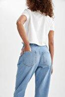 Defacto Kadın Mavi Beli Lastikli Jogger Yıkamalı Jean Pantolon