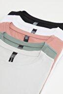 Giyenbilir Erkek Çok Renkli Slim Fit Bisiklet Yaka 5-li T-shirt Paketi