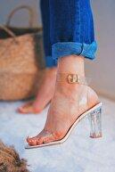 SHOEBELLAS Havre Beyaz Kadın Şeffaf Topuklu Ayakkabı