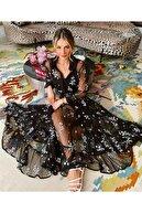 JANES Kadın Siyah Ithal Flok Kumaş Astarlı Elbise
