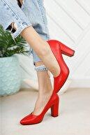 Nirvana ayakkabı Kadın Kırmızı Cilt Yüksek Kalın Topuklu Ayakkabı