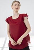 Journey Kadın Bordo Bluz Yaka Kol Volanlı Çift Kat Şifon Bluz