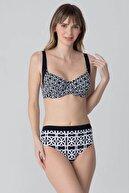 Kom Desenli Yüksek Bel Bikini Takım