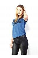 MERİCEY Kadın Mavi Kısa Kollu Tişört