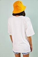 Bianco Lucci Kadın Beyaz Kartal Baskılı Oversize Tshirt