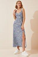 Happiness İst. Kadın Mavi Çiçekli Yırtmaçlı Yazlık Uzun Viskon Elbise HF00244