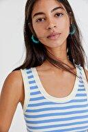 Pull & Bear Kadın Mavi Basic Fitilli Crop Top