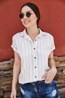 armonika Kadın Bej Çizgili Kısa Kol Gömlek ARM-19Y001067