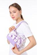 ICONE BAG Icone Batik Baskılı Kanvas Baguette Baget Omuz Ve El Çantası Lila