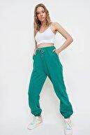 Trend Alaçatı Stili Kadın Yeşil Yüksek Bel Paçası Lastikli Cepli Eşofman Altı ALC-X6524