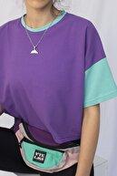 Vatkalimon Kadın Mor Mint Renkli Crop Tshirt