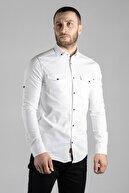 ZEKİ ÖZER Erkek Beyaz Kot Gömlek