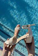 İnan Ayakkabı Kadın Tek Bant Ince Örgü Bilekli Topuklu Ayakkabı