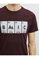Koton Erkek Bordo Baskılı Kısa Kollu Pamuklu T-Shirt