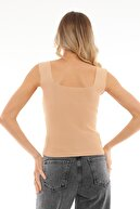 PERA TREND Kadın Camel Kalın Askılı Kare Yaka Crop Bluz
