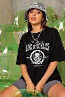 blackjack giyim Blackjackgiyim Kadın Siyah Oversize Los Angeles Baskılı T-shirt
