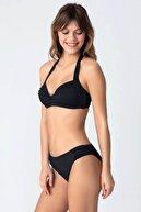 Kom Kadın Siyah Boyundan Askılı Bikini Takım