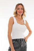 PERA TREND Kadın Beyaz Kalın Askılı Crop Bluz