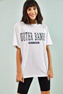 Bianco Lucci Kadın Beyaz Outher Bank Baskılı Oversize Tshirt