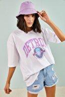 Bianco Lucci Kadın Detroit Baskılı Oversize Tshirt