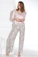 Sevim Kadın Pembe Desenli Pijama Takımı