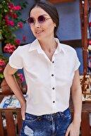 armonika Kadın Beyaz Kısa Kol Gömlek ARM-19Y001065