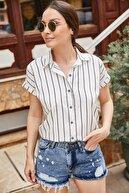 armonika Kadın Siyah Çizgili Kısa Kol Gömlek ARM-19Y001067